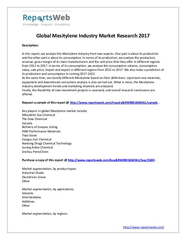 Market Analysis 2017 Development of Mesitylene Industry
