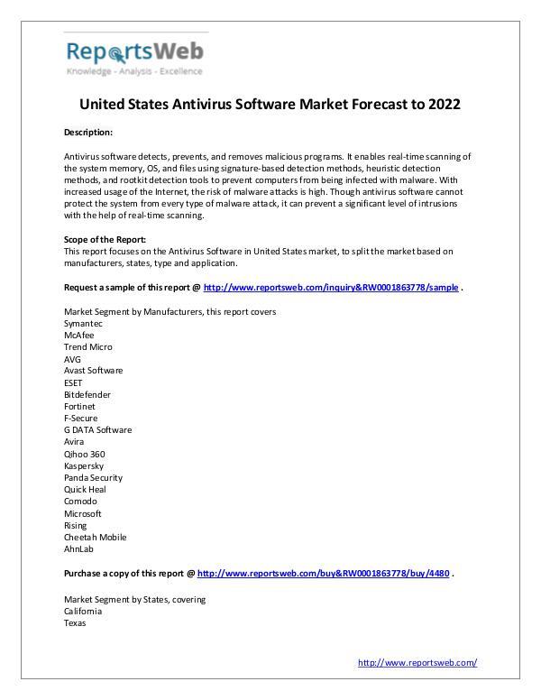 Market Analysis 2017 United States Antivirus Software Industry