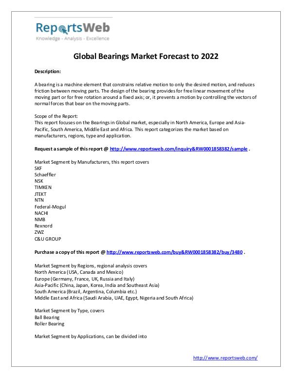 Market Analysis Market Overview of Global Bearings Industry 2017
