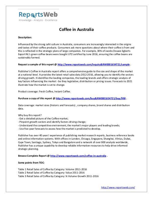 Market Analysis Coffee in Australia