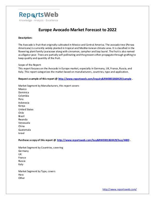 Market Analysis Europe Market Size of Avocado Industry 2017
