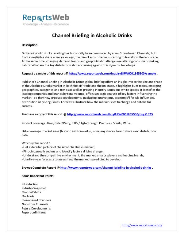 Market Analysis Channel Briefing in Alcoholic Drinks