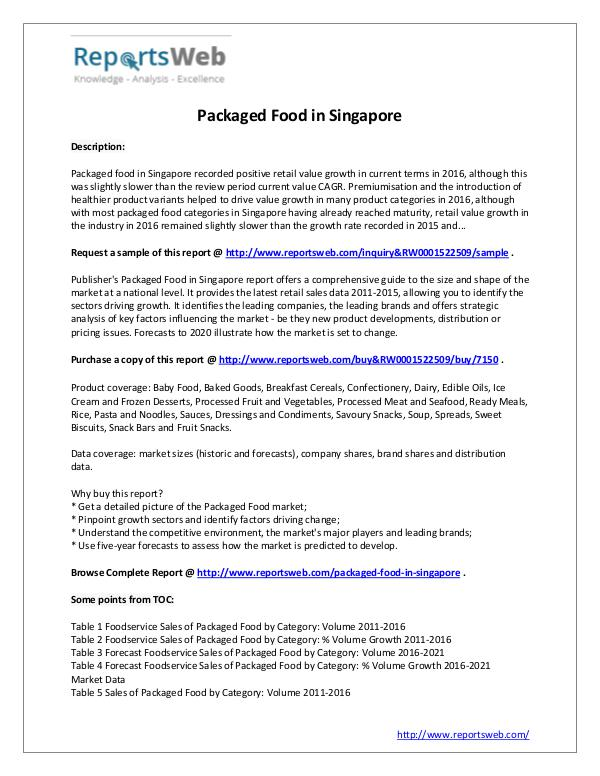 Market Analysis Packaged Food in Singapore