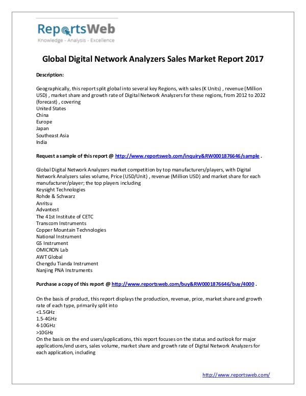 Market Analysis 2017 Global Digital Network Analyzers Market