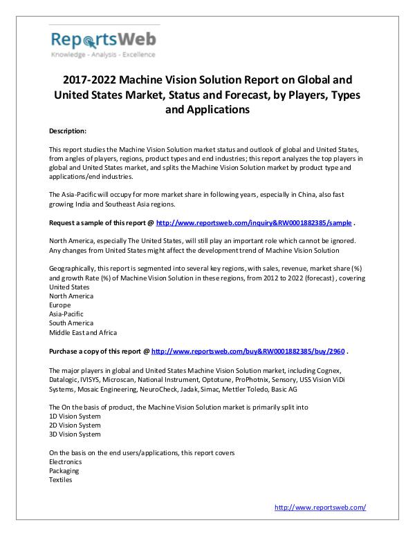 2017 Global and US Machine Vision Solution Market