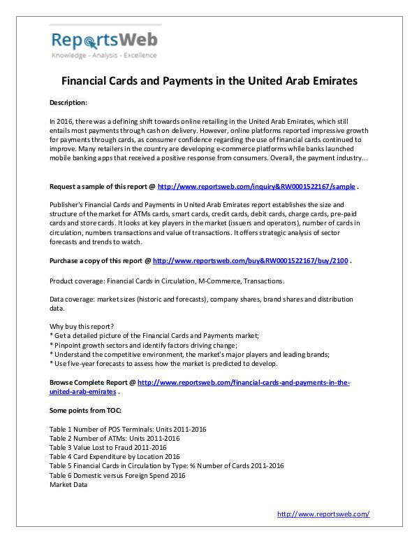 Market Analysis Financial Cards and Payments in the UAE