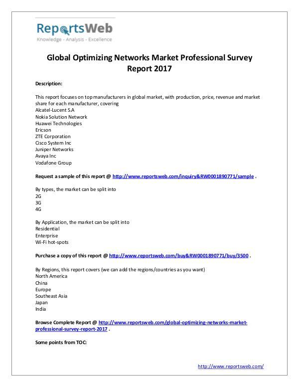Optimizing Networks Market 2017 Emerging Trends