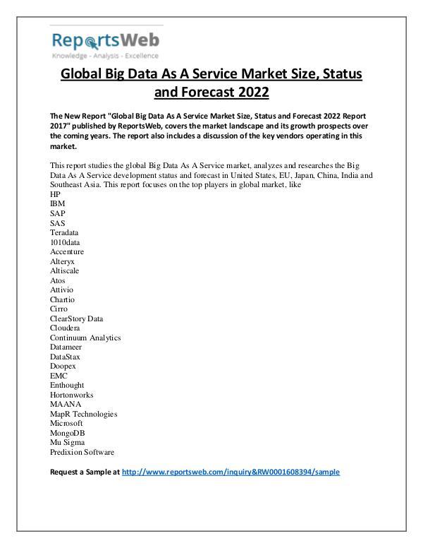 Market Analysis Big Data As A Service Market 2017 Emerging Trends