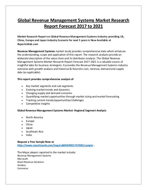 Market Analysis Revenue Management Systems Market 2017 Overview