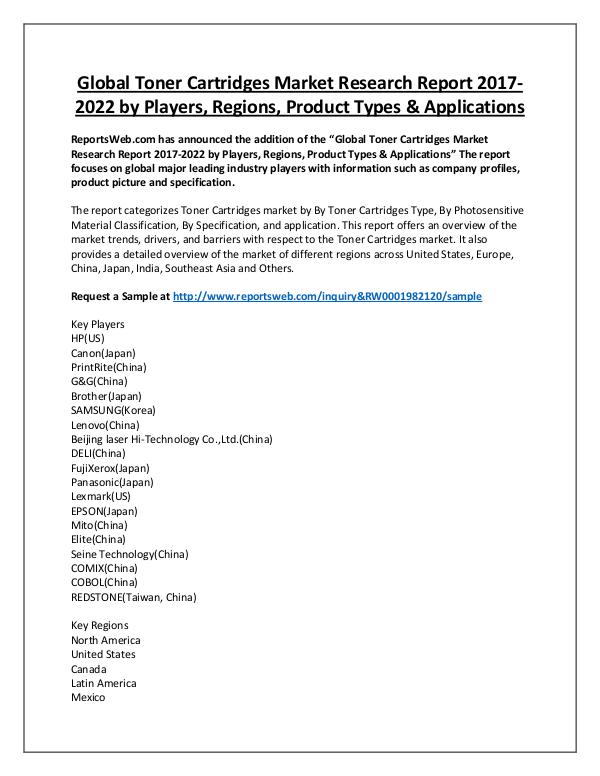 Market Analysis Global Toner Cartridges Market Overview 2017-2022