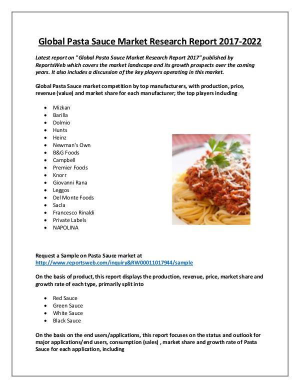 Market Analysis Pasta Sauce Market 2017 Share and Growth