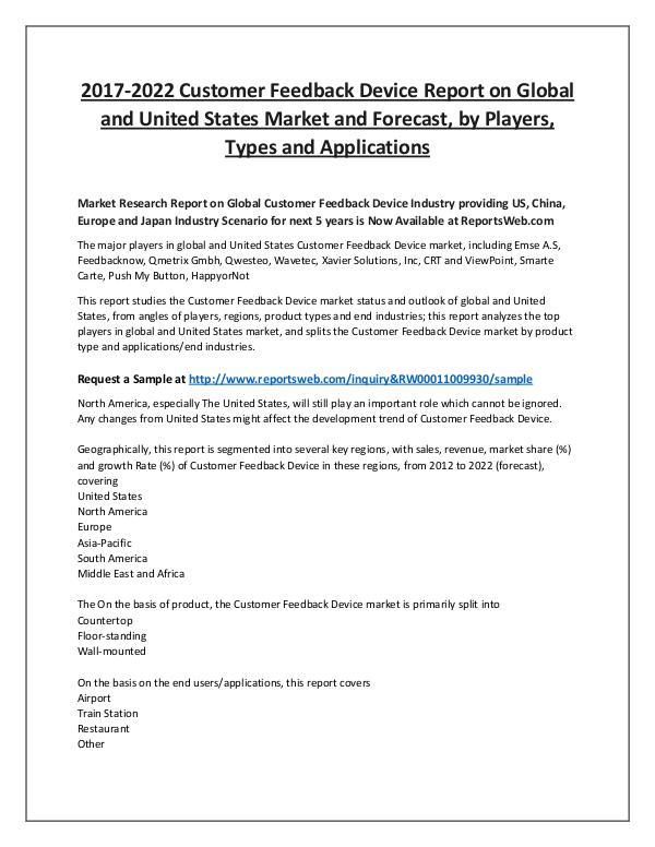 Market Analysis Global and United States Customer Feedback Market