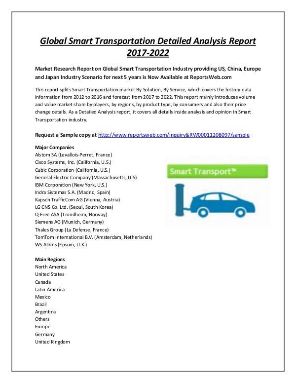 Market Analysis Smart Transportation Market 2017 Share and