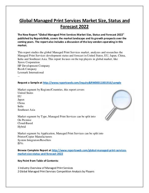 Market Analysis Managed Print Services Market Regional Forecast