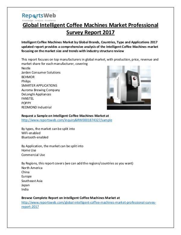 Market Analysis Intelligent Coffee Machines Market Overview