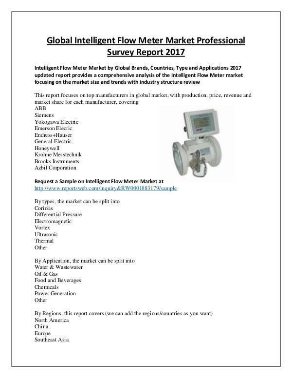 Intelligent Flow Meter Industry 2017