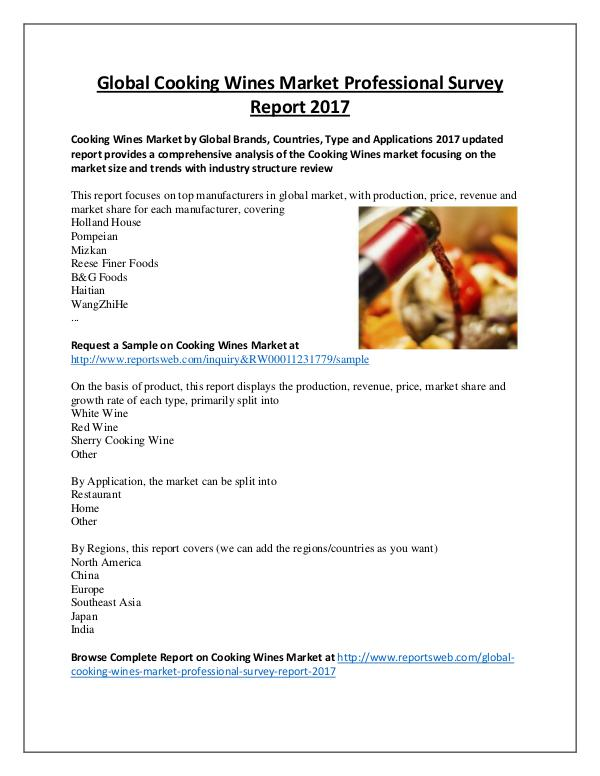 Cooking Wines Market Review and Forecast 2022