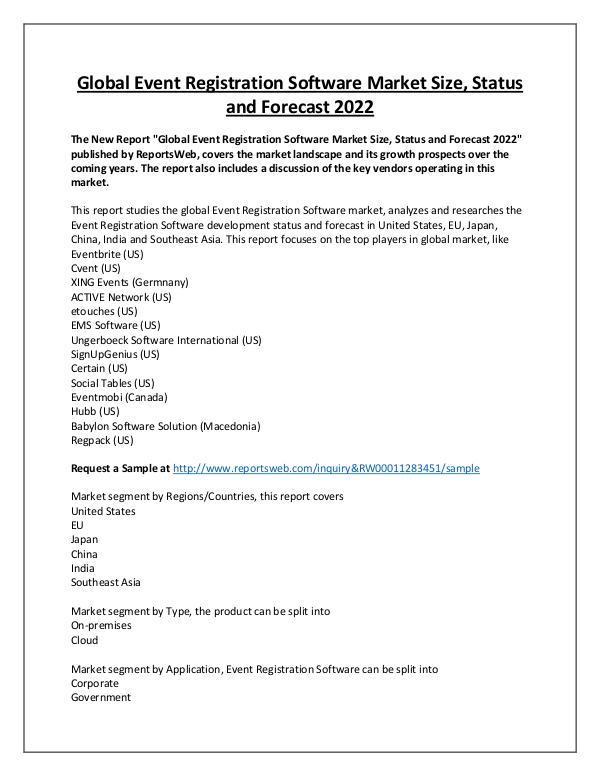Market Analysis Event Registration Software Market Overview 2022