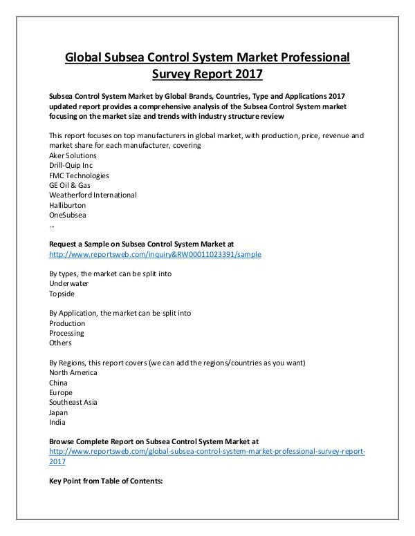 Subsea Control System Market Overview to 2022