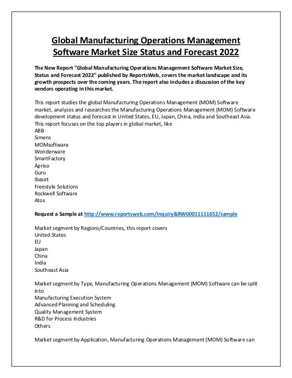 Market Analysis Manufacturing Operations Management Software