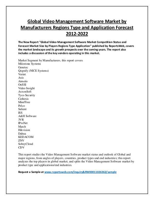 Market Analysis Video Management Software Market Regional Forecast