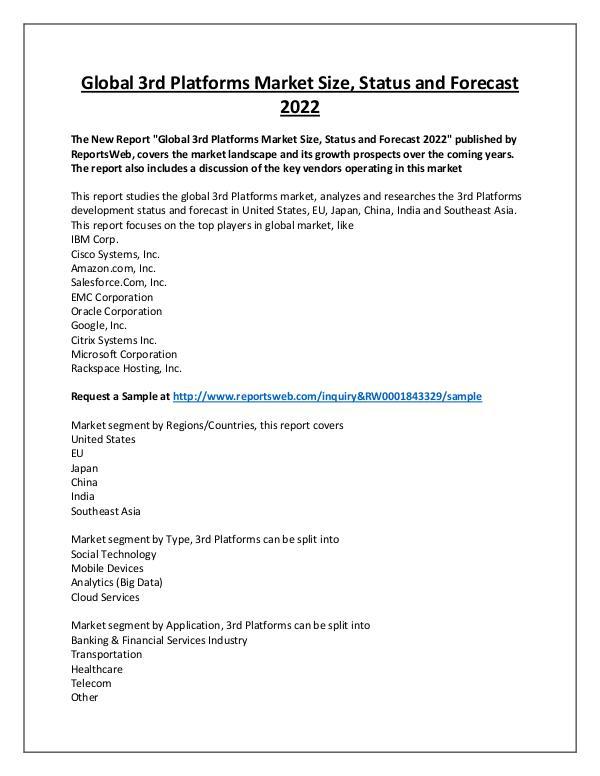 Market Analysis 3rd Platforms Market 2017 New Research Study