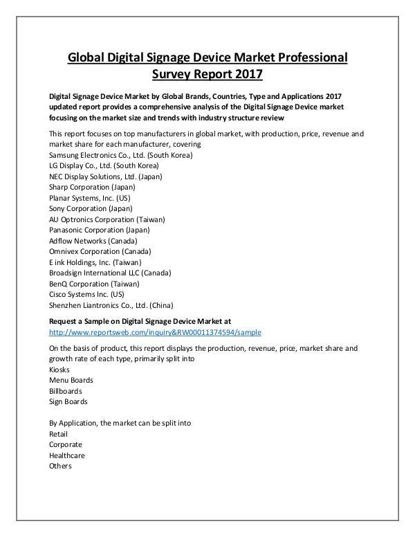 Market Analysis 2022 Future of Digital Signage Device Market