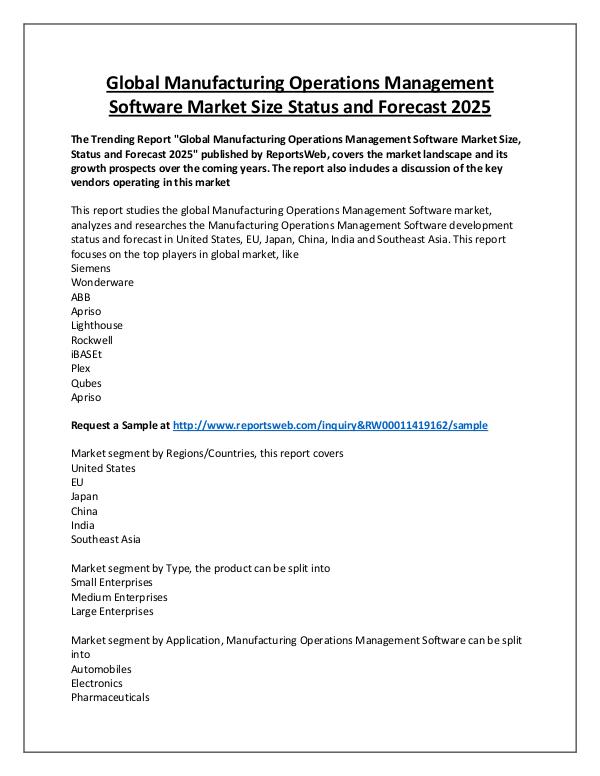 Market Analysis Manufacturing Operations Management Software Marke
