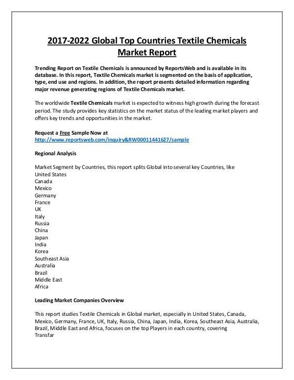 Market Analysis Textile Chemicals Market 2018 Development Trends