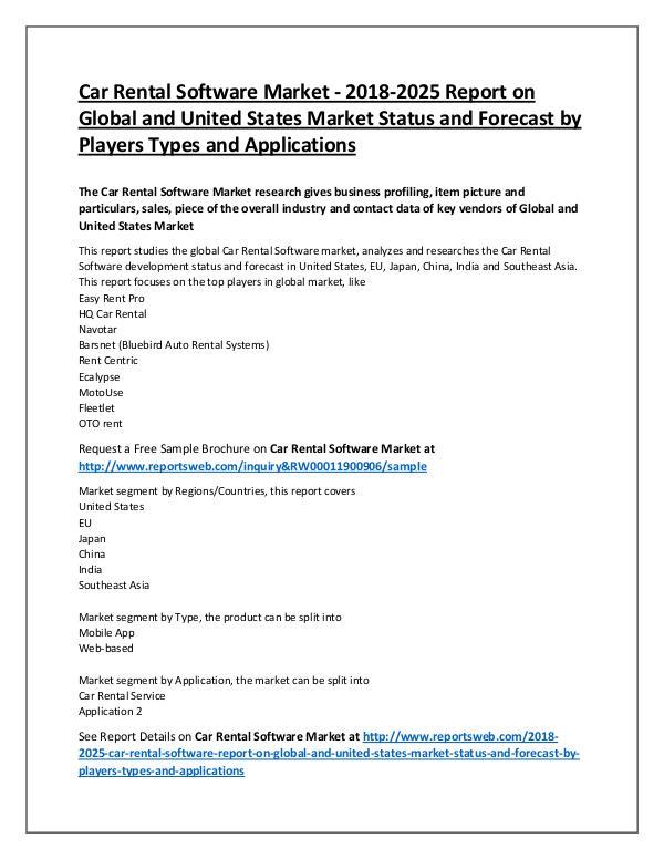 Car Rental Software Market 2018 Development Trends
