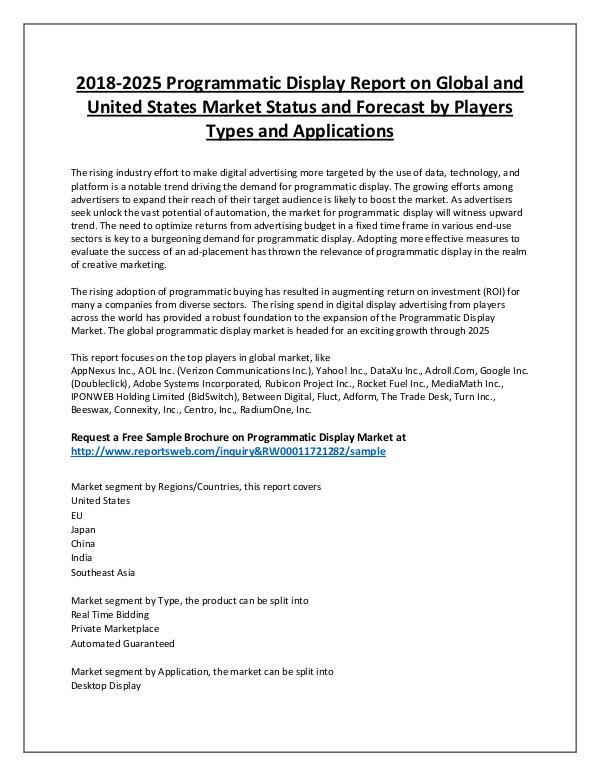 Market Analysis Programmatic Display Market Overview to 2025