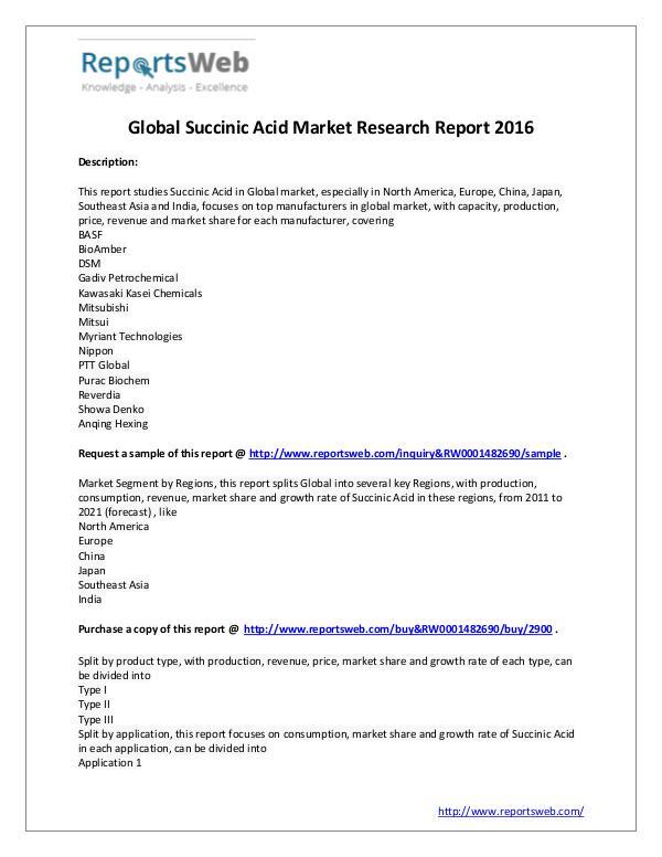 Market Analysis 2016-2021 Global Succinic Acid Market