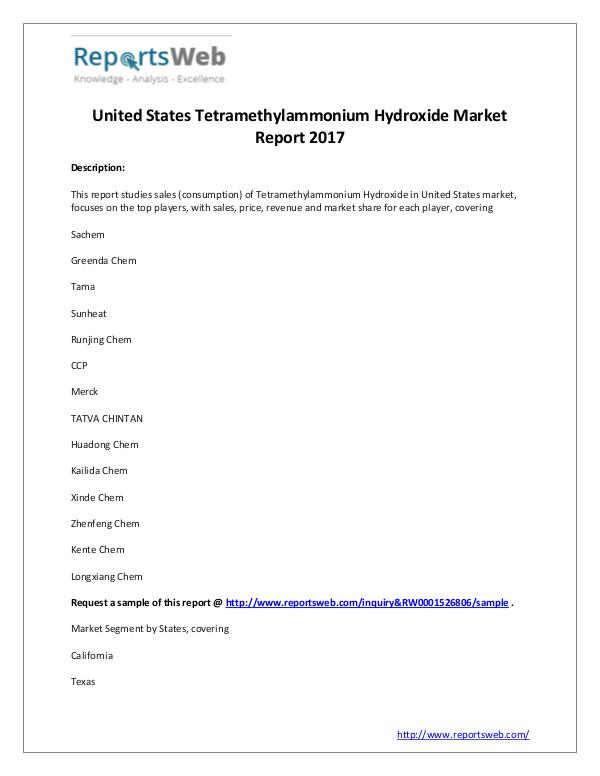 2017 U.S Tetramethylammonium Hydroxide Market