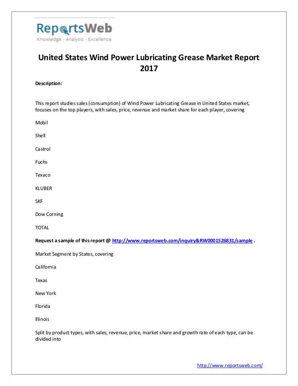 Wind Power Lubricating Grease Industry