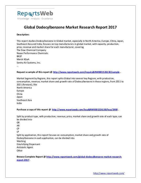 2017 Global Dodecylbenzene Industry Study