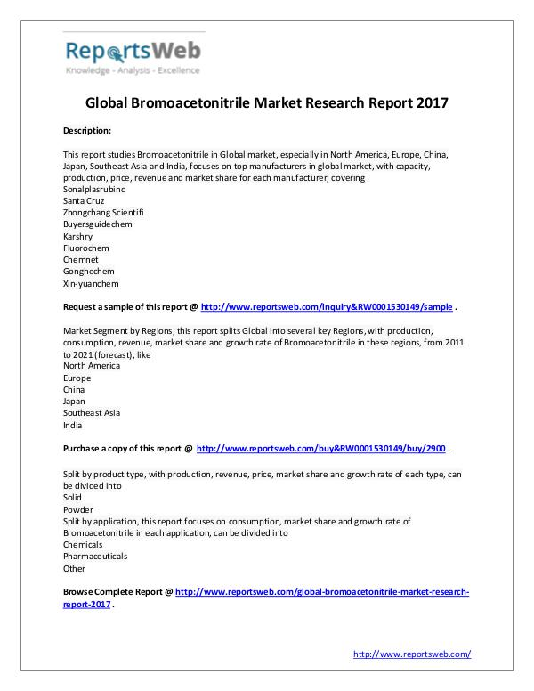 2017 Analysis: Global Bromoacetonitrile Industry