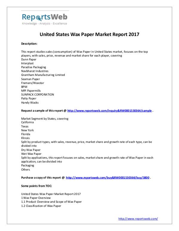 2021 Forecast: United States Wax Paper Industry