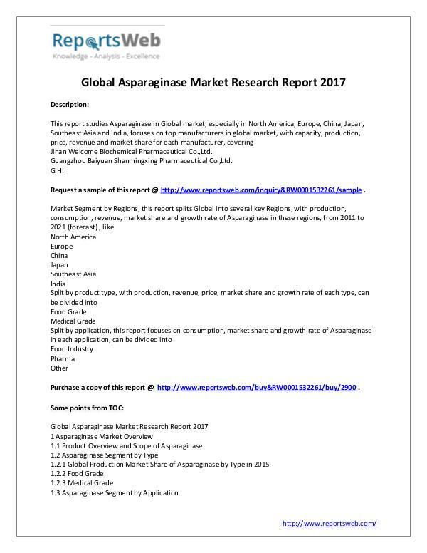 Market Analysis 2017 Study - Global Asparaginase Market
