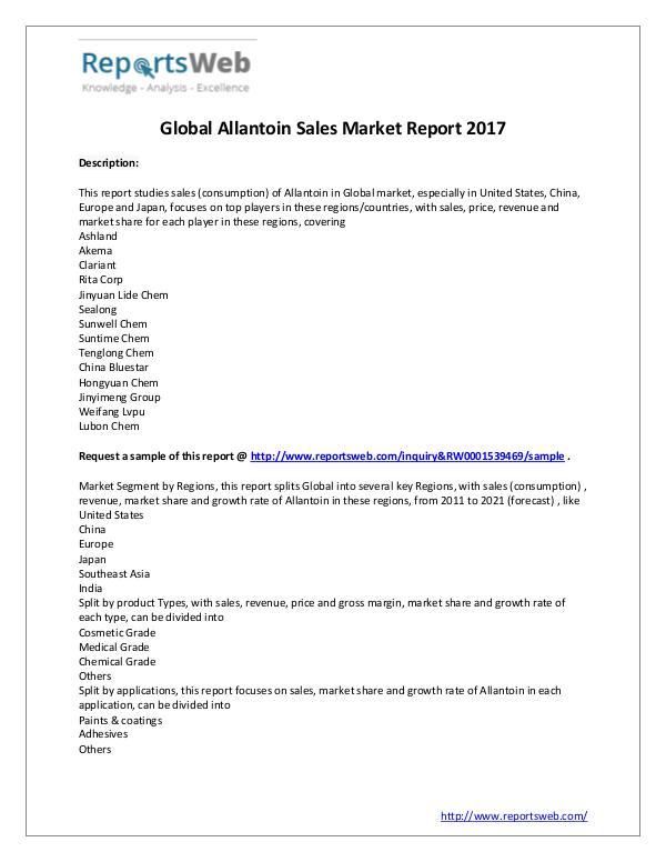 Market Analysis 2017 Analysis: Global Allantoin Sales Industry