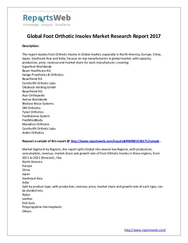 Market Analysis Foot Orthotic Insoles Market - Global Research