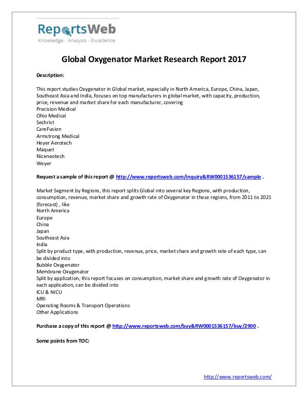Market Analysis New Study: 2017 Global Oxygenator Market