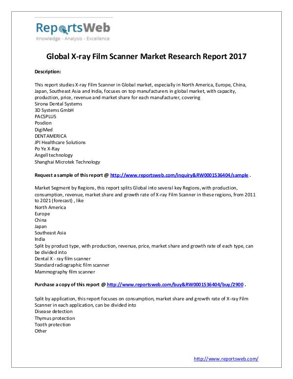 Market Analysis X-ray Film Scanner Market - 2017 Global Report