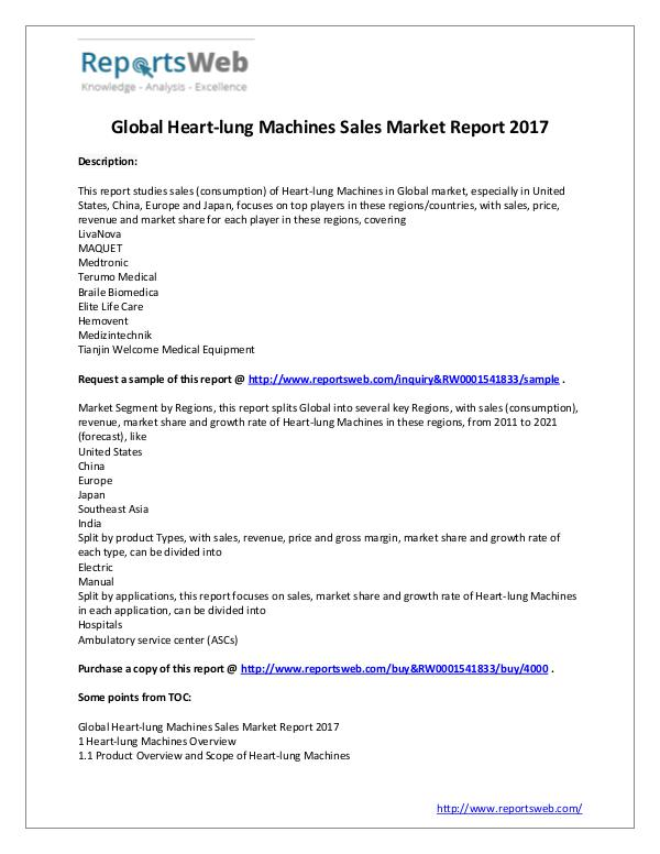 Market Analysis 2017 Study - Global Heart-lung Machines Market