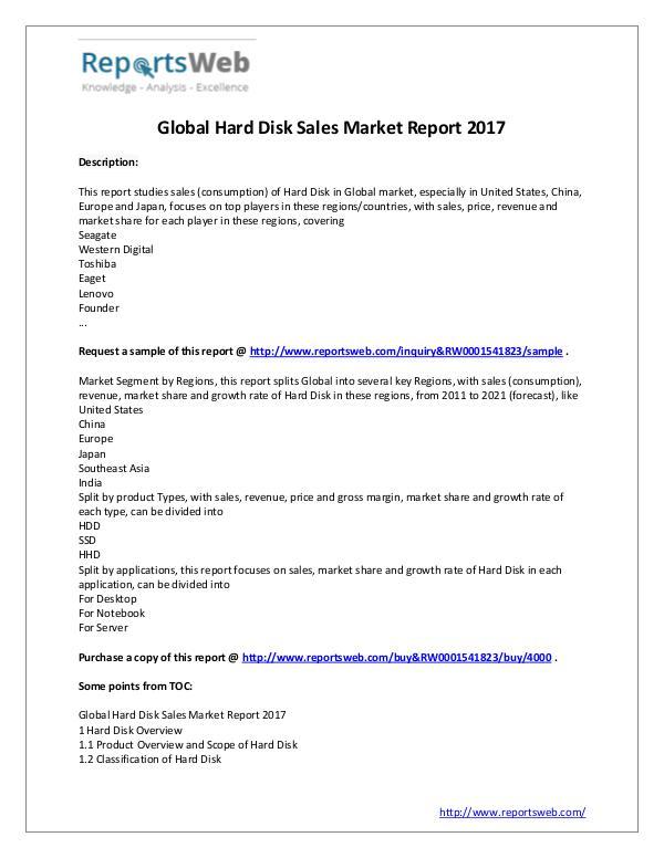 2017 Study - Global Hard Disk Sales Market