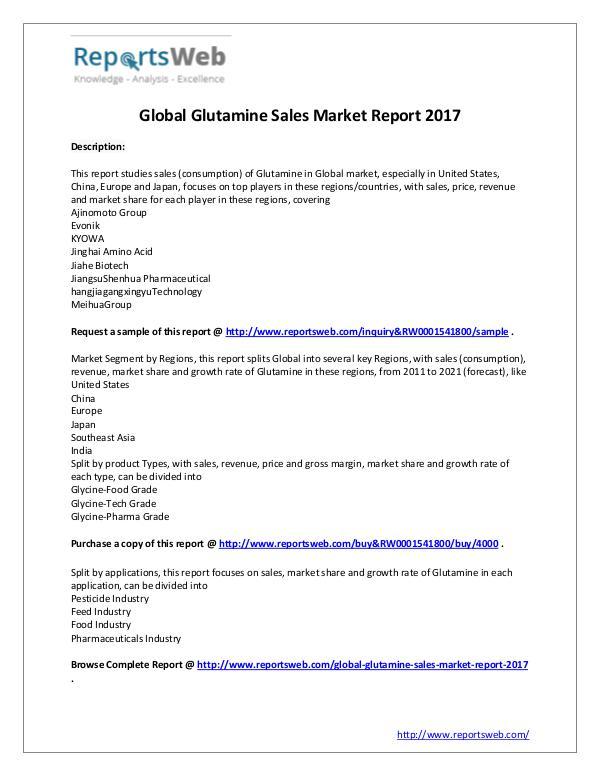 2017 Analysis: Global Glutamine Sales Industry