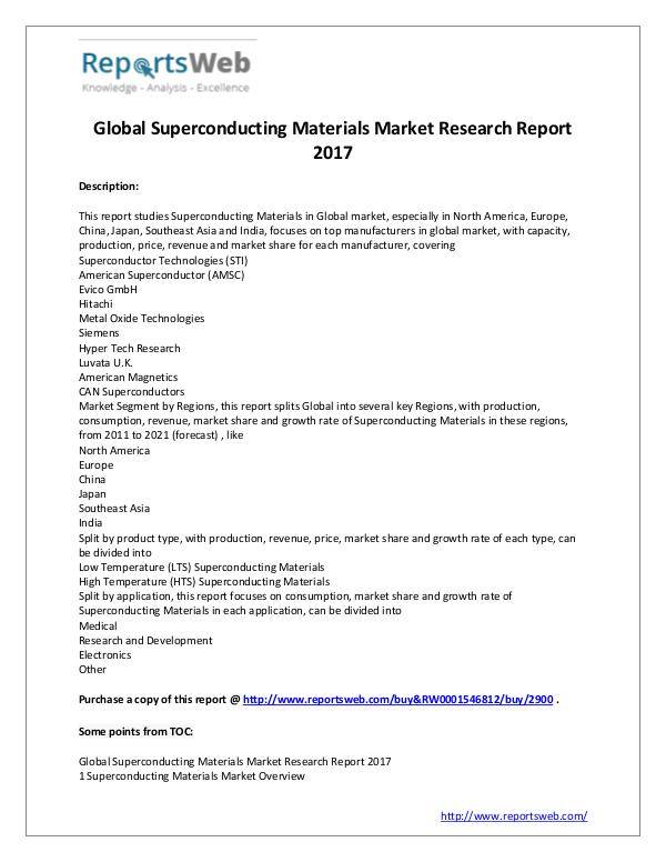 Market Analysis Global Superconducting Materials Industry 2021