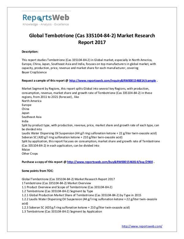 Market Analysis Global Tembotrione (Cas 335104-84-2) Industry 2017