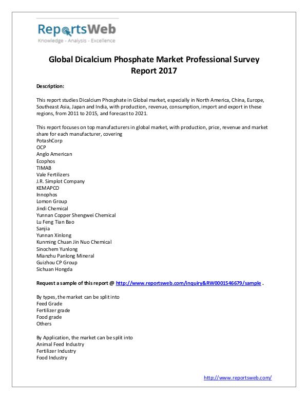 Market Analysis Dicalcium Phosphate Industry Professional Survey