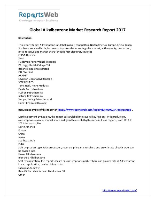 Market Analysis New Study: 2017 Global Alkylbenzene Market