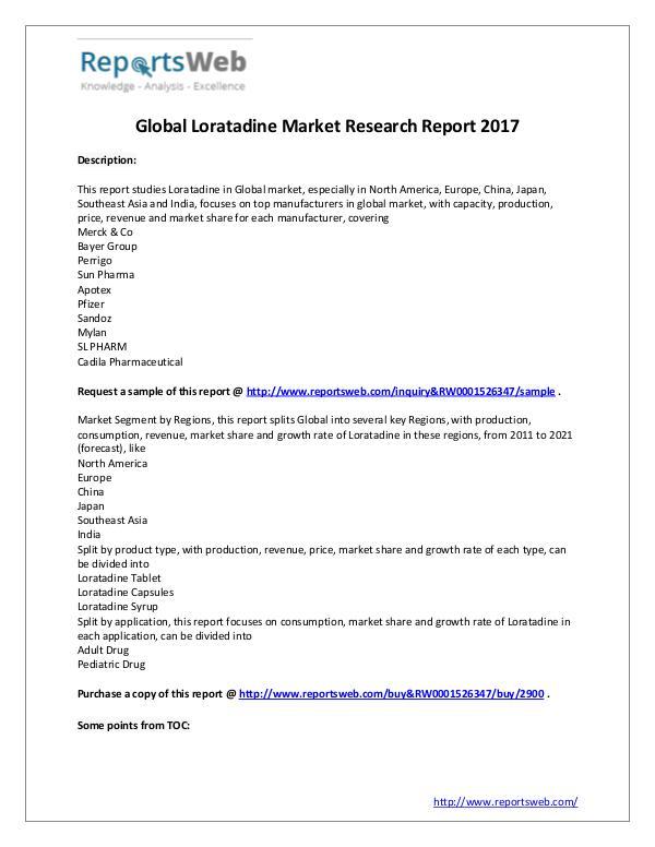 Market Analysis Loratadine Market Global Analysis & 2021 Forecast